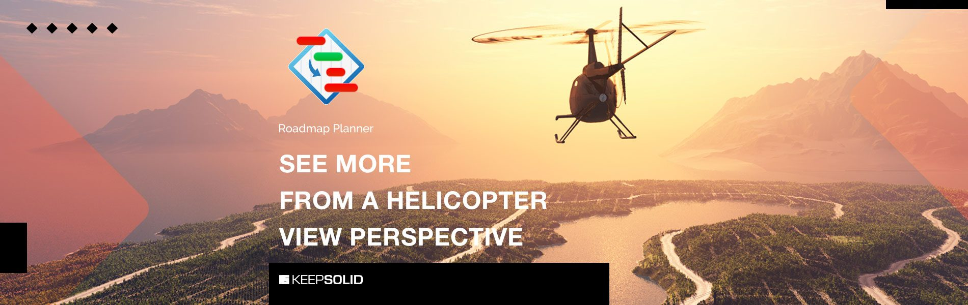 A flying helicopter symbolizing helicopter view on your business