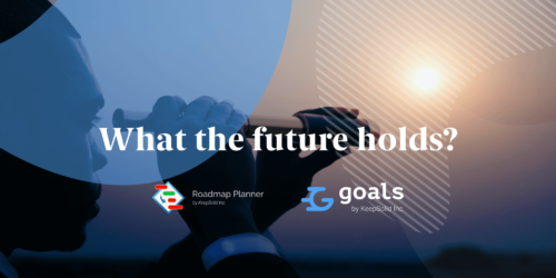 Young businessman looking through telescope at the future of Roadmap Planner and Goals by KeepSolid.
